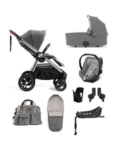 mamas-papas-ocarro-8-piece-travel-system-pushchair-carrycot-adaptors-cupholder-bag-footmuff-cybex-aton-5-car-seat-isofix-base