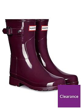 hunter-refined-short-gloss-wellington-boot-red