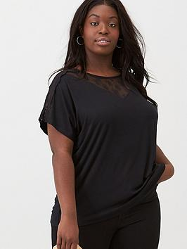 V by Very Curve V By Very Curve Lace Insert Jersey Top - Black Picture
