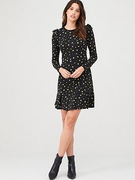 Warehouse Warehouse Floral Print Frill Sleeve Dress - Multi Picture