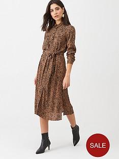 warehouse-ink-spot-shirt-dress-tan