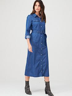 warehouse-midi-buckle-detail-shirt-dress-blue