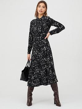 Warehouse Daisy Print Midi Shirt Dress - Multi