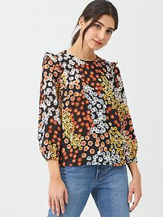 warehouse-cutabout-daisy-print-top-multi