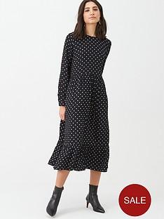 warehouse-spot-print-tiered-midi-dress-black