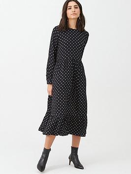 Warehouse Warehouse Spot Print Tiered Midi Dress - Black Picture