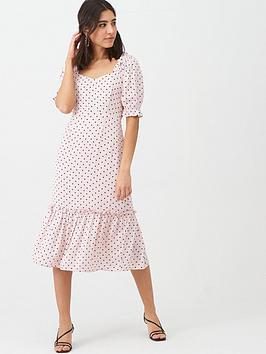 Warehouse Warehouse Spot Prairie Midi Dress - Pale Pink Picture