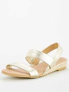 Office Office Sallie Double Strap Wedge Sandals - Gold Leather Picture