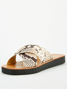 Office Office Santos Premium Snake Crossover Flat Sandal Picture