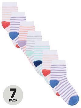 V by Very V By Very Girls 7 Pack Stripe Socks Picture
