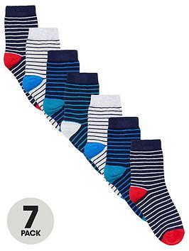 V by Very V By Very Boys 7 Pack Stripe Socks Picture