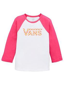 Vans Vans Check My Shine Girls Raglan Top - White/Pink Picture