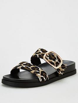 Office Office Synthia Double Buckle Flat Sandal - Leopard Picture