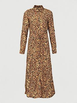 V by Very V By Very Woven Button Through Shirt Midi Dress - Print Picture