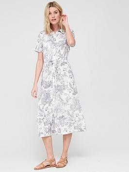 V by Very V By Very Woven Button Through Short Sleeve Shirt Dress - Print Picture