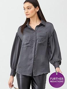 v-by-very-formal-sleeve-detailnbspbutton-through-shirt-grey