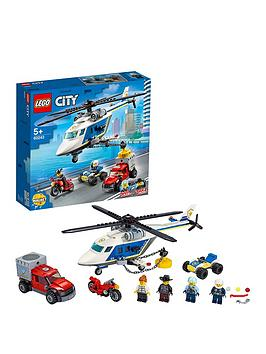 LEGO City  Lego City 60243 Police Helicopter Chase With Atv, Motorbike And Truck