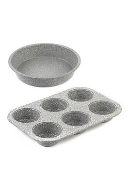 Salter Salter Marble Collection 24 Cm Baking Pan And 6-Cup Muffin Tray Set  ... Picture
