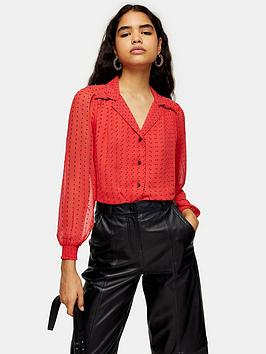 Topshop Topshop Spot Flocked Shirt - Red Picture