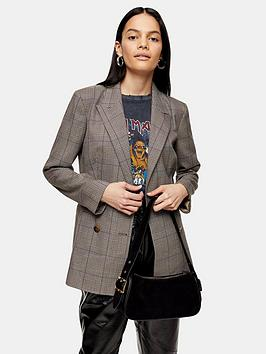 Topshop Topshop Heritage Check Double Breasted Blazer - Brown Picture