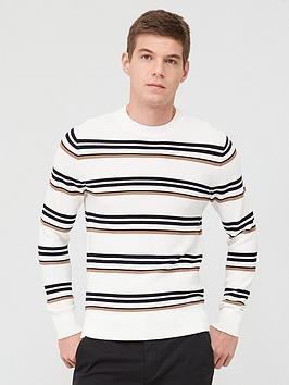 Selected Homme Selected Homme Canton Stripe Crew Neck Jumper - White Picture
