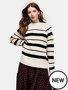 topshop-pleat-back-stripe-jumper-ivory