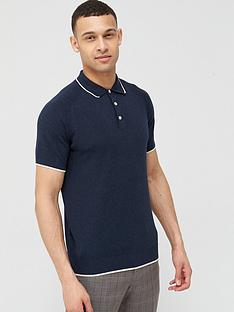 selected-homme-knitted-short-sleeve-polo-shirt-navy