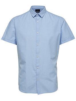 selected-homme-linen-slim-fit-shirt-blue
