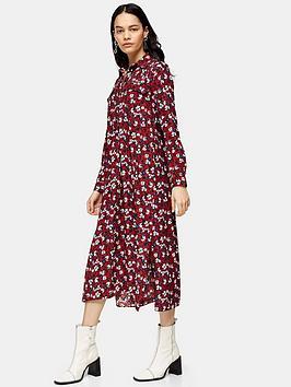 Topshop Topshop Tall Trapeeze Midi Shirt Dress - Burgundy Picture