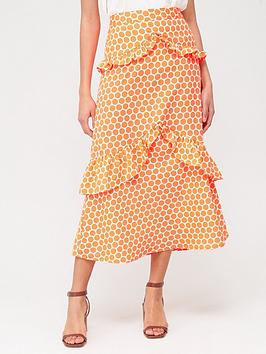 V by Very V By Very Tiered Ruffle Maxi Skirt - Neon Orange Spot Picture