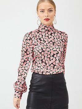 V by Very V By Very High Neck Printed Blouse - Rose Print Picture