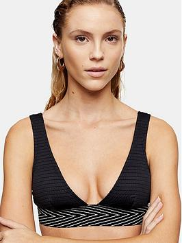 Topshop Topshop Shirred Elastic Triangle Bikini Top - Black Picture