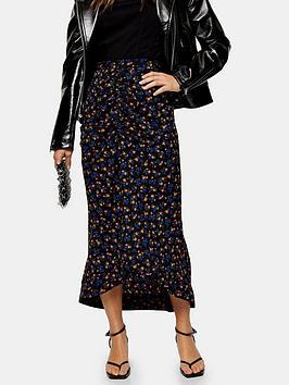 Topshop Topshop Petite Floral Trumpet Midi Skirt - Indigo Picture