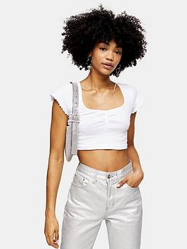 Topshop Topshop Rib Ruched Crop Top - White Picture