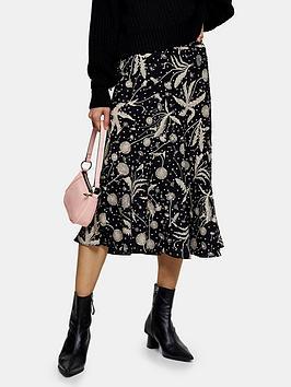 Topshop Topshop Dandelion Flounce Midi Skirt - Black Picture