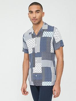 Selected Homme Selected Homme Fuse Printed Short Sleeve Shirt - Blue Picture