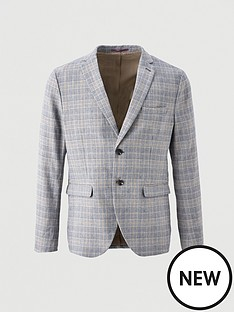 selected-homme-checked-slim-fit-blazer-navy