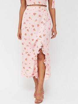 v-by-very-side-ruch-midi-skirt-heart-print