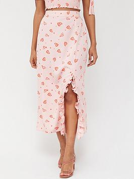 V by Very V By Very Side Ruch Midi Skirt - Heart Print Picture