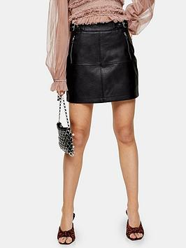 topshop-seamed-pu-mini-skirt-black
