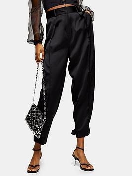 Topshop Topshop Satin Tapered Fit Trousers &Ndash; Black Picture