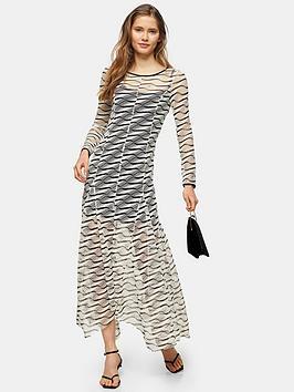 Topshop Topshop Premium Mesh Maxi Dress - Ecru Picture
