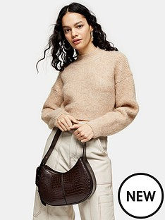 topshop-super-crop-brushed-jumper-camel