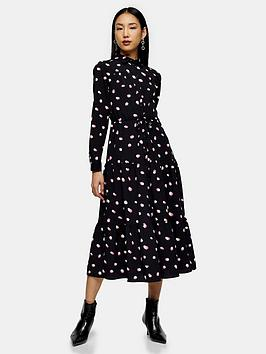 Topshop Topshop Spot Tiered Shirtdress - Black Picture