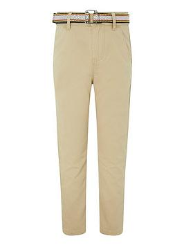 Monsoon Monsoon Boys Belted Chino Trousers - Stone Picture