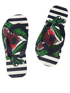 Joules Joules Boys Dino Stripe Flipflop- Navy Picture