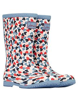 Joules Joules Girls Hearts Roll Up Wellington Boots - White Picture