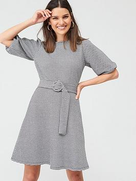 Warehouse Gingham Puff Sleeve Dress - Mono