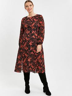 evans-floral-midi-dress-rust