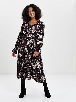 Evans Evans Floral Wrap Dress - Blush Picture